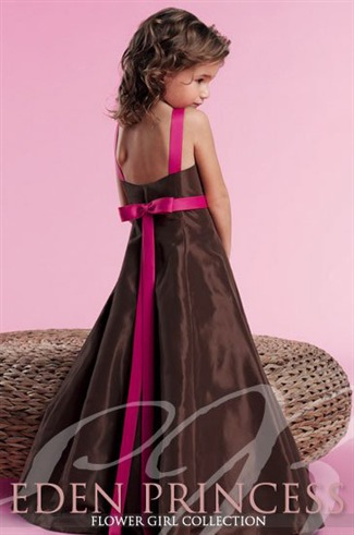 Eden Bridals Bridesmaid Dresses with sizes 10JR 12JR 14JR in Chocolate/Raspberry - ID12222