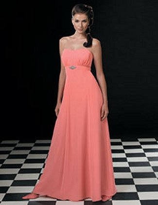 Jordan Fashions Quick Delivery Bridesmaid Dress with sizes 8 6 4 in Coral – ID419