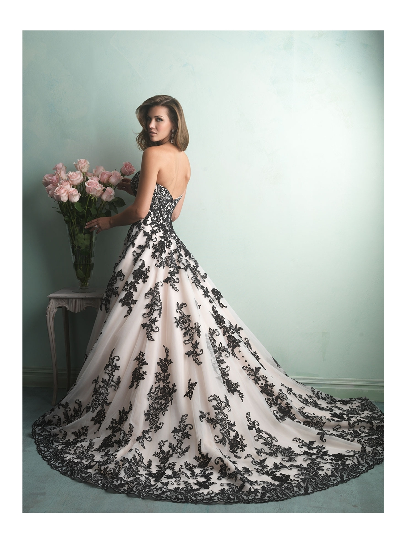Black and white allure wedding dress